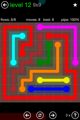Solution and Answer to the Puzzle for Flow Green Pack Set 9x9 Level 12