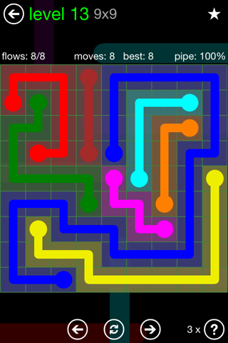Solution and Answer to the Puzzle for Flow Green Pack Set 9x9 Level 13