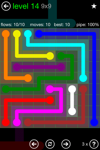 Solution and Answer to the Puzzle for Flow Green Pack Set 9x9 Level 14