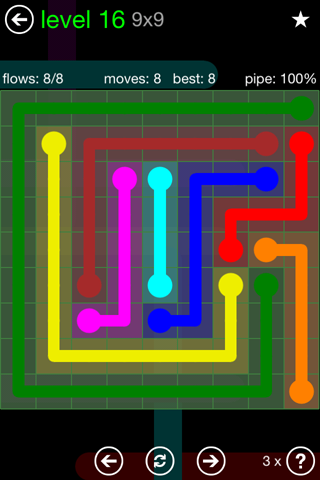 Solution and Answer to the Puzzle for Flow Green Pack Set 9x9 Level 16