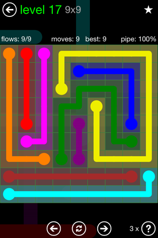 Solution and Answer to the Puzzle for Flow Green Pack Set 9x9 Level 17