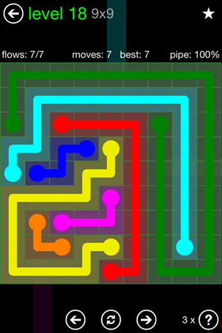 Solution and Answer to the Puzzle for Flow Green Pack Set 9x9 Level 18
