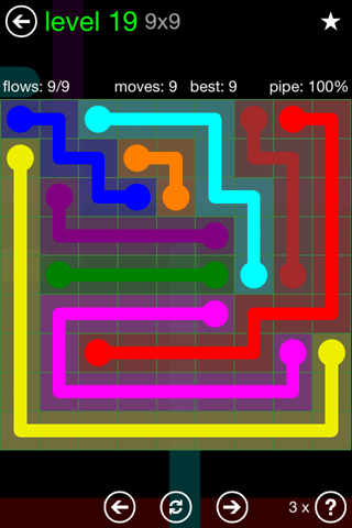Solution and Answer to the Puzzle for Flow Green Pack Set 9x9 Level 19