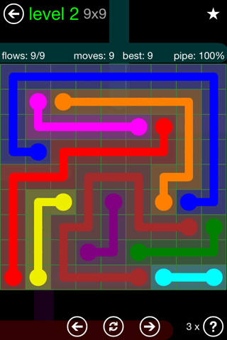 Solution and Answer to the Puzzle for Flow Green Pack Set 9x9 Level 2