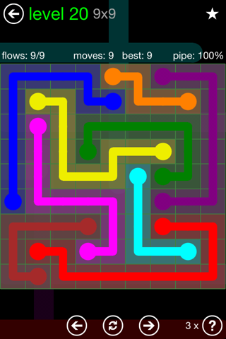 Solution and Answer to the Puzzle for Flow Green Pack Set 9x9 Level 20