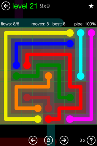 Solution and Answer to the Puzzle for Flow Green Pack Set 9x9 Level 21