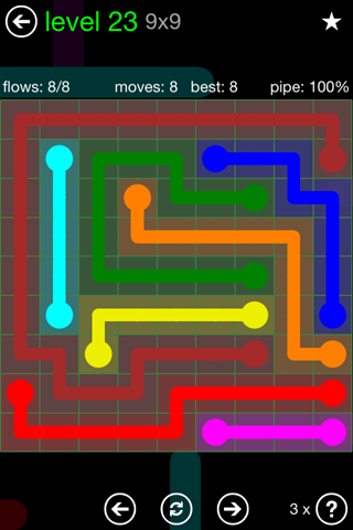 Solution and Answer to the Puzzle for Flow Green Pack Set 9x9 Level 23