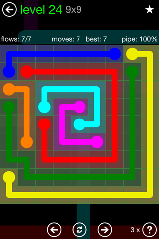Solution and Answer to the Puzzle for Flow Green Pack Set 9x9 Level 24