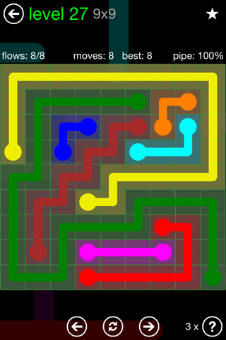 Solution and Answer to the Puzzle for Flow Green Pack Set 9x9 Level 27