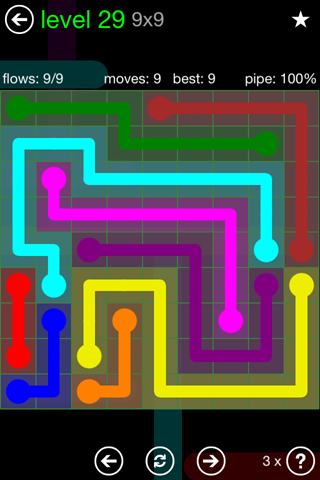Solution and Answer to the Puzzle for Flow Green Pack Set 9x9 Level 29