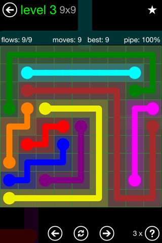 Solution and Answer to the Puzzle for Flow Green Pack Set 9x9 Level 3