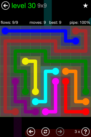 Solution and Answer to the Puzzle for Flow Green Pack Set 9x9 Level 30