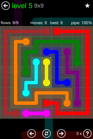 Solution and Answer to the Puzzle for Flow Green Pack Set 9x9 Level 5
