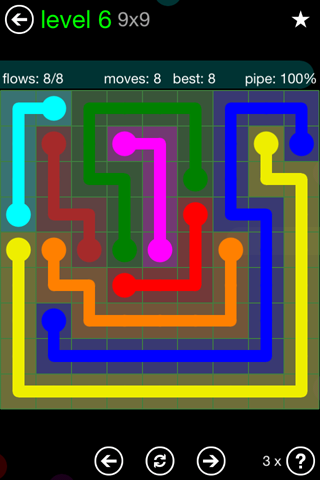 Solution and Answer to the Puzzle for Flow Green Pack Set 9x9 Level 6