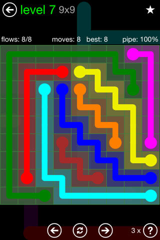 Solution and Answer to the Puzzle for Flow Green Pack Set 9x9 Level 7