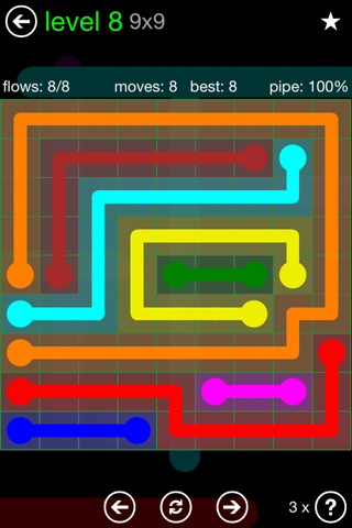 Solution and Answer to the Puzzle for Flow Green Pack Set 9x9 Level 8