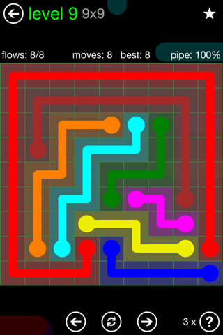 Solution and Answer to the Puzzle for Flow Green Pack Set 9x9 Level 9