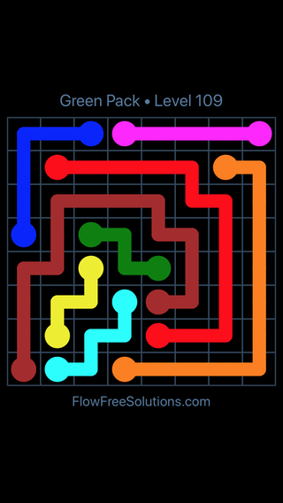 Solution and Answer to the Puzzle for Flow Free Green Pack Level 19