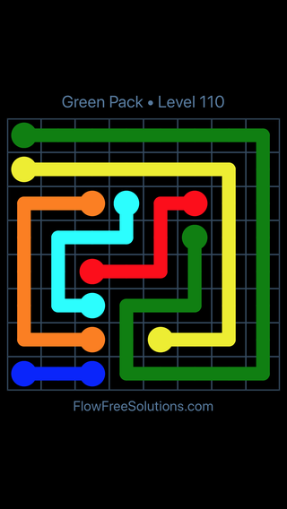 Solution and Answer to the Puzzle for Flow Free Green Pack Level 20
