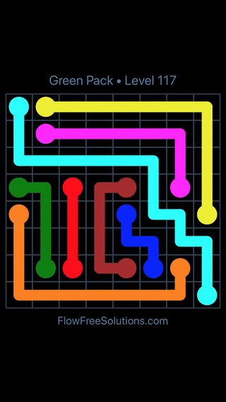 Solution and Answer to the Puzzle for Flow Free Green Pack Level 27