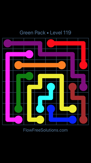 Solution and Answer to the Puzzle for Flow Free Green Pack Level 29