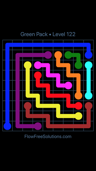 Solution and Answer to the Puzzle for Flow Free Green Pack Level 2