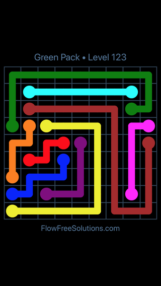 Solution and Answer to the Puzzle for Flow Free Green Pack Level 3