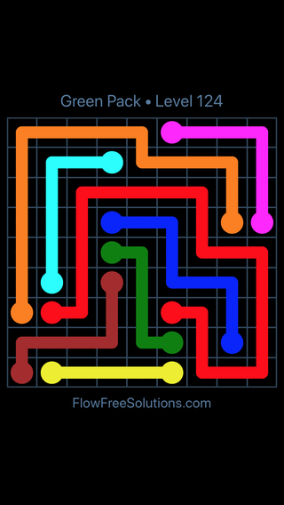 Solution and Answer to the Puzzle for Flow Free Green Pack Level 4