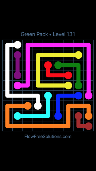 Solution and Answer to the Puzzle for Flow Free Green Pack Level 11