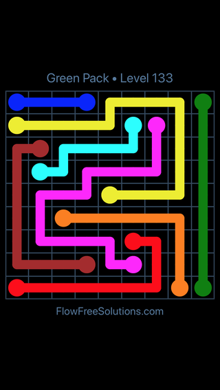 Solution and Answer to the Puzzle for Flow Free Green Pack Level 13