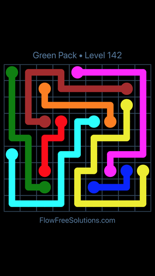 Solution and Answer to the Puzzle for Flow Free Green Pack Level 22