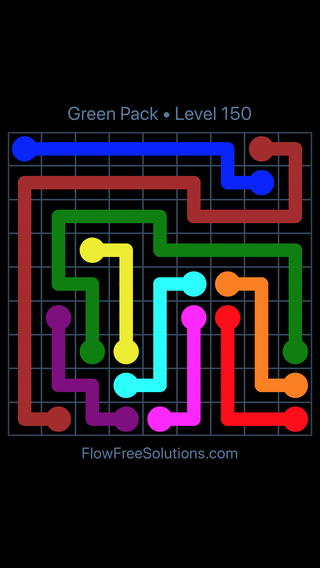 Solution and Answer to the Puzzle for Flow Free Green Pack Level 30