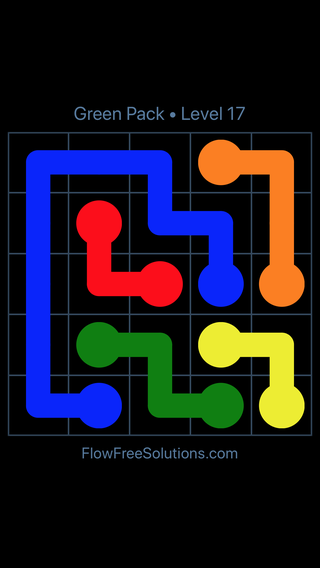 Solution and Answer to the Puzzle for Flow Free Green Pack Level 17