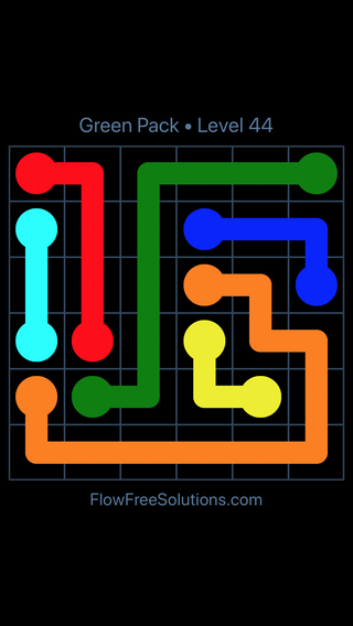 Solution and Answer to the Puzzle for Flow Free Green Pack Level 14