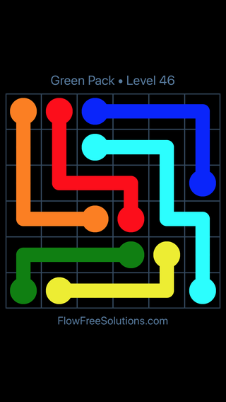 Solution and Answer to the Puzzle for Flow Free Green Pack Level 16
