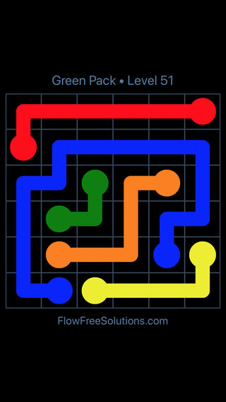 Solution and Answer to the Puzzle for Flow Free Green Pack Level 21