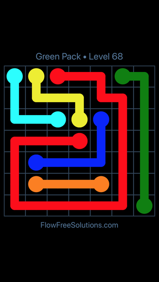 Solution and Answer to the Puzzle for Flow Free Green Pack Level 8