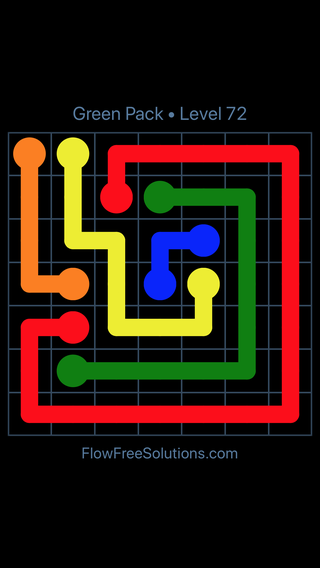 Solution and Answer to the Puzzle for Flow Free Green Pack Level 12