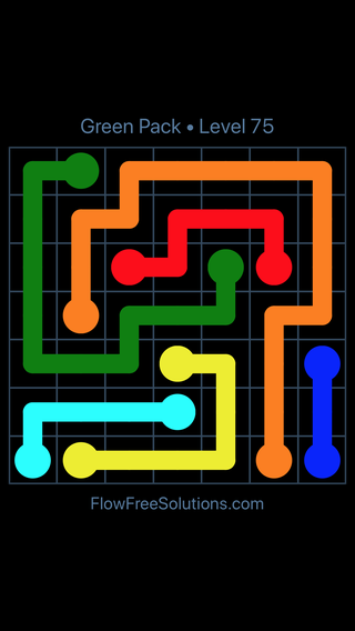 Solution and Answer to the Puzzle for Flow Free Green Pack Level 15