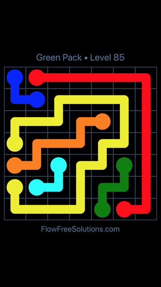 Solution and Answer to the Puzzle for Flow Free Green Pack Level 25