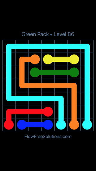 Solution and Answer to the Puzzle for Flow Free Green Pack Level 26