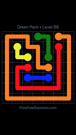 Solution and Answer to the Puzzle for Flow Free Green Pack Level 28