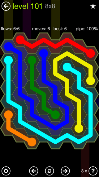 Solution and Answer to the Puzzle for Flow Hexes Pack Set 5x5 Level 101