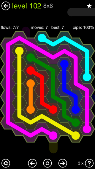Solution and Answer to the Puzzle for Flow Hexes Pack Set 5x5 Level 102