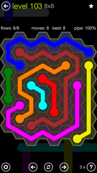 Solution and Answer to the Puzzle for Flow Hexes Pack Set 5x5 Level 103
