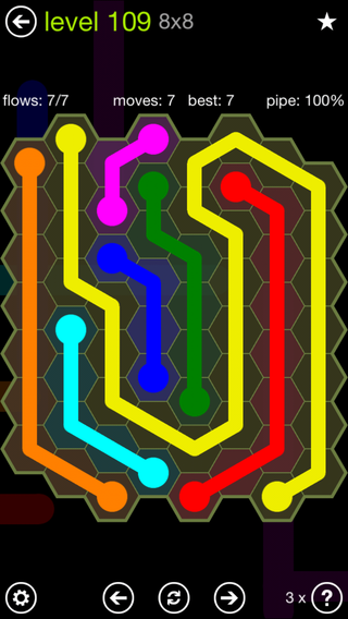 Solution and Answer to the Puzzle for Flow Hexes Pack Set 5x5 Level 109