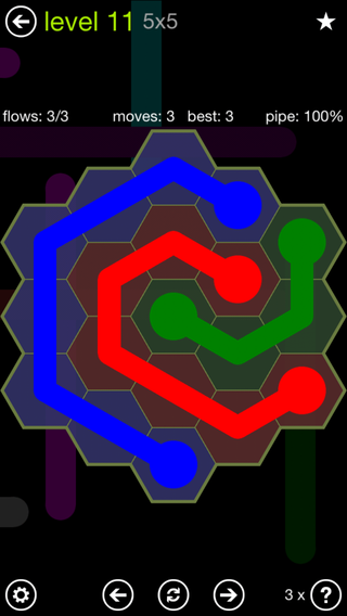 Solution and Answer to the Puzzle for Flow Hexes Pack Set 5x5 Level 11