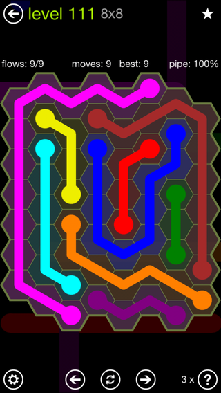 Solution and Answer to the Puzzle for Flow Hexes Pack Set 5x5 Level 111