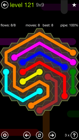 Solution and Answer to the Puzzle for Flow Hexes Pack Set 5x5 Level 121