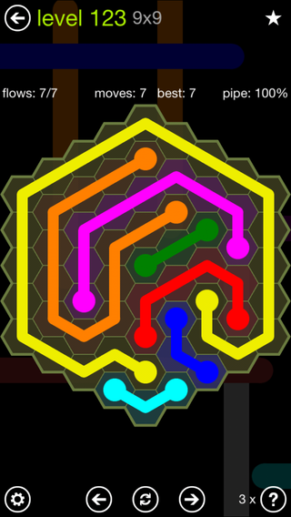 Solution and Answer to the Puzzle for Flow Hexes Pack Set 5x5 Level 123